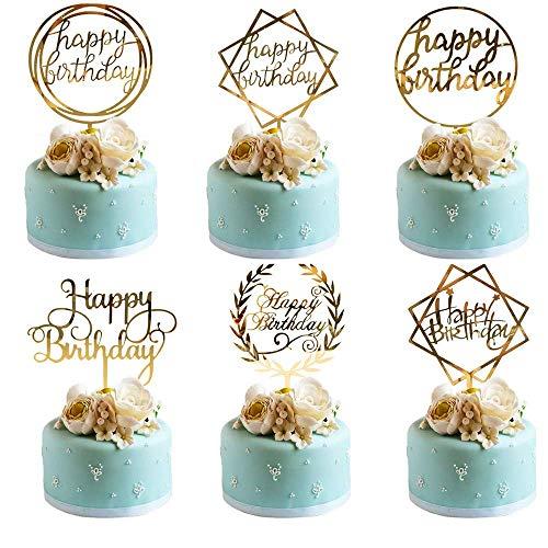 BOSSTER Feliz Cumpleaños Cake Topper 6 Piezas Acrílico Decoración para Tartas de Cumpleaños para Baby Shower Fiesta de Cumpleaños Tiendas de Panaderia