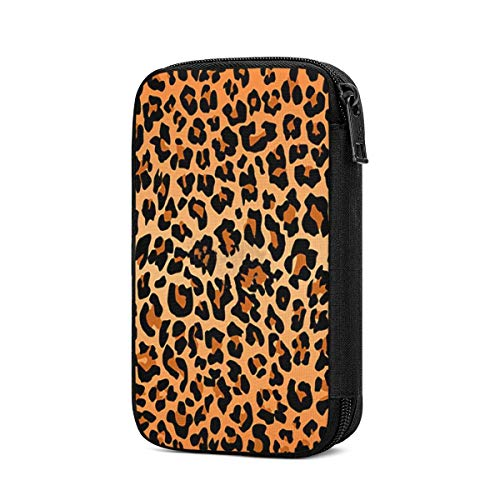 Travel Cords Organizer Universal Small Best Leopard Print Electronic Accessories Data Cable Organizer Carrying Storage Bag for Cables Adapter USB Sticks Leads Memory Cards Portable Multi-Functional