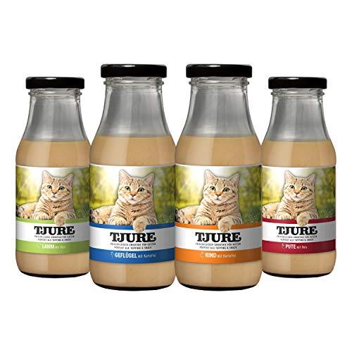 """Tjure \""""All in One 4 x 220 ml für Katzen – Geflügel, Rind, Lamm & Pute. Ideal in der Rekonvaleszenz."""