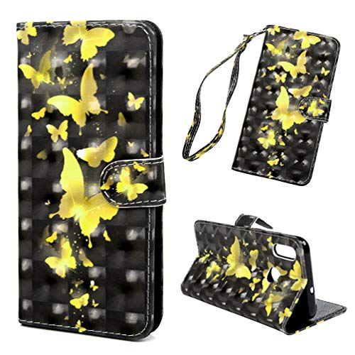 Handyhülle Kompatible für Huawei P Smart 2019/Honor 10 Lite Hülle Hülle Flip Cover PU Leder Tasche 3D Muster Flipcase Schutzhülle Handytasche Skin Ständer Klapphülle Schale Bumper-Gold Schmetterling