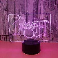 ドラムドラム3DナイトライトカラフルなタッチLEDビジュアルライトギフトステレオステレオテーブルランプベビールームは目の誕生日を傷つけませんGiftcolorful:タッチクラック+リモートコントロール