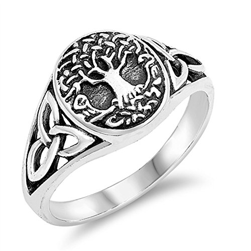 Antiqued Celtic Tree of Life Knot Filigree Ring Sterling Silver Band Size 10