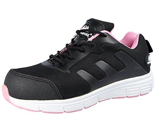 Groundwork- Scarpe da ginnasticae da lavoro ultraleggere, da donna, con puntale di sicurezza in acciaio, modello stringato, Rosa (Black/pink), 42