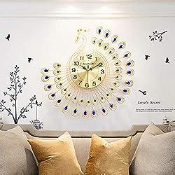 NEOTEND Silent Metal Wall Clock Peacock Non Ticking Modern Wall Clock Large Decorative 3D Clock