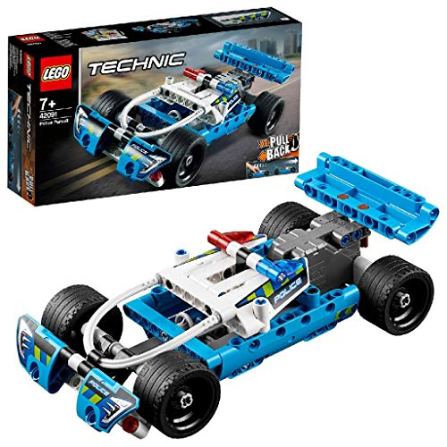 LEGO 42091 Technic Polizei-Verfolgungsjagd, Spielzeugauto mit Rückziehmotor, Bauset für Jungen und Mädchen ab 7 Jahren