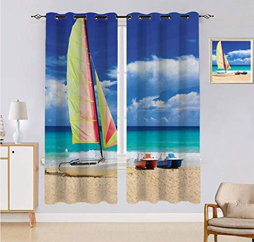 Alandana Holiday Blackout Curtains, Exotic Cuban Beach with Wind Surfing Boat and Waves Tropical Summer Coastal Picture Room Darkening Curtain 2 Panels Set, Each Panel 54' W x 84' L Blue Cream