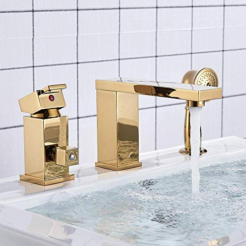 Fantastic Basin Sink Faucets Gold Two Function Kitchen Basin Faucets Deck Mounted Hot and Cold Water Mix Taps Beautiful