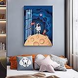 GEGEBIANHAOKAN Impresión de Giclee Dibujos Animados Vía Láctea Cohetes Astronautas Carteles Modernos Pintura Cuadro de Pared para Sala de Estar Decoración de Dormitorio infantil-50x70cm Sin Marco