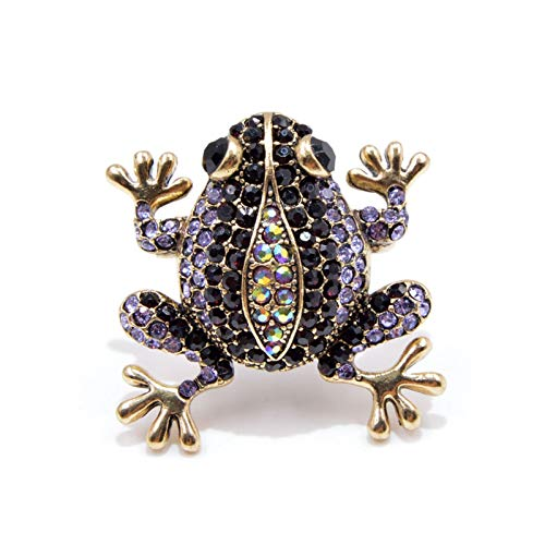 YSCSTORE HumoliStore 3 Colors To Choose From Rhinestone Frog Brooch,4.0cm*4.0cm As A Female Retro Fashion Animal Brooch, Cute And Vivid Box Style Jewelry Beautiful and elegant (Metal color : Purple)