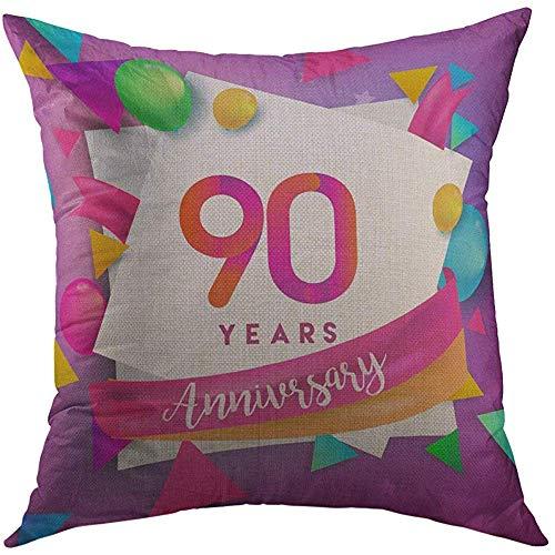 Kussensloop decoratieve kussensloop 90 jaar verjaardag viering ballonnen lint kleurrijk voor uw negentig verjaardagsfeestje huisdecoratie kussensloop 45X45cm