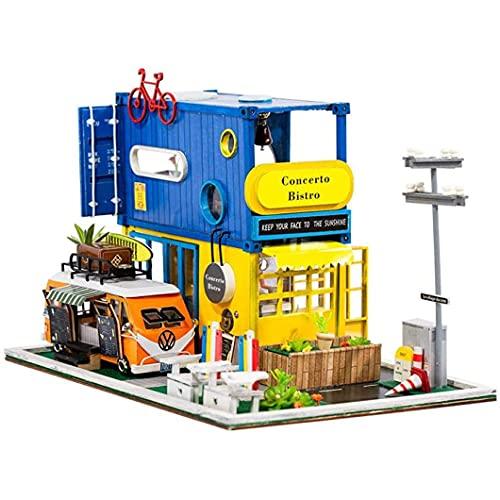 ZIXUAL DIY Dollhouse Miniatura con Muebles Cuarto de Comedor Casa de muñecas de Madera Luces LED Real Construyendo su Propio Kit de Juguete Modelo de casa Artesanal - El me