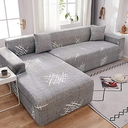WXQY Funda de sofá de Esquina con patrón de Lino, Utilizada para la Funda de sofá de la Sala de Estar, sofá elástico con Todo Incluido, sillón Chaise Longue A20 de 3 plazas