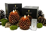 Luminara PINE CONE Flameless Candle - 2PC SET w/ REMOTE CONTROL, Battery Operated, 3.5' x 4', Real Wax, Unscented, Brown w/ Gold Accents, Auto-Timer, Country, Natural, Designer, Bed & Bath