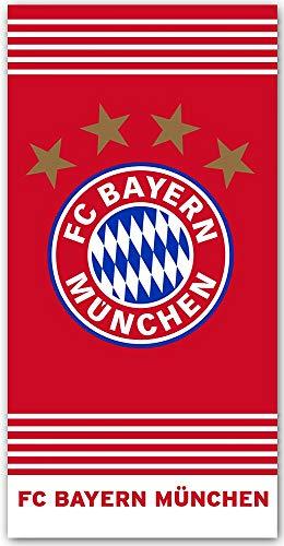 FC Bayern München Badetuch Rekord-Meister 75 x 150 cm Fußball FCB Deutscher Allianz Arena Mia san Mia Champions League Bundesliga Strandlaken Strandtuch Handtuch Badelaken Tuch Pass. zur Bettwäsche