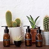 Kit de viaje de tres botellas de vidrio ámbar Marrón dispensador de jabón en 100ml con pizarra etiquetas por kuishi