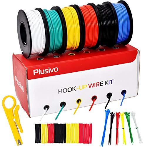 Plusivo Drahtdraht, 24 Gauge, solider Kern – vorverzinnter, PVC-beschichteter Kupferdraht in 6 Farben (schwarz, rot, gelb, grün, blau, weiß), je 11 m, Haken-Up-Draht-Set von Plusivo