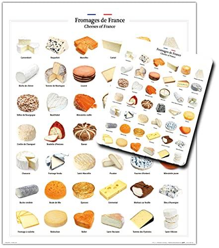 1art1 Formaggio, Formaggi di Francia 1 Stampa d'Arte (50x40 cm) + 1 Tappetino per Mouse (23x19 cm) Set Regalo