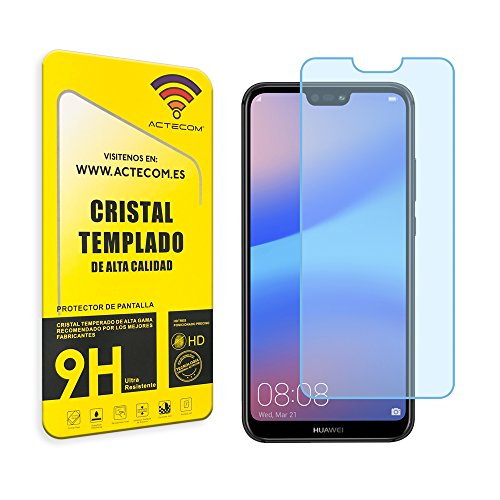 actecom Cristal Templado Compatible con Huawei P20 Lite Protector Pantalla (CASE FRIENDLY)