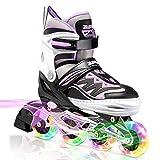 2PM SPORTS Cytia Purple Girls Adjustable Illuminating Inline Skates with Light up Wheels, Fun Flashing Rollerblades for Kids - Large (3Y-6Y US)