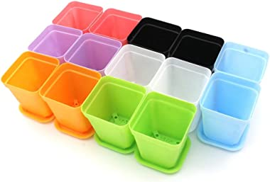 KLOUD City 14pcs Colorful Square Plastic Plant Pot, Planter, Flower Pot with Pallet Tray Saucer for Decoration of Home Office