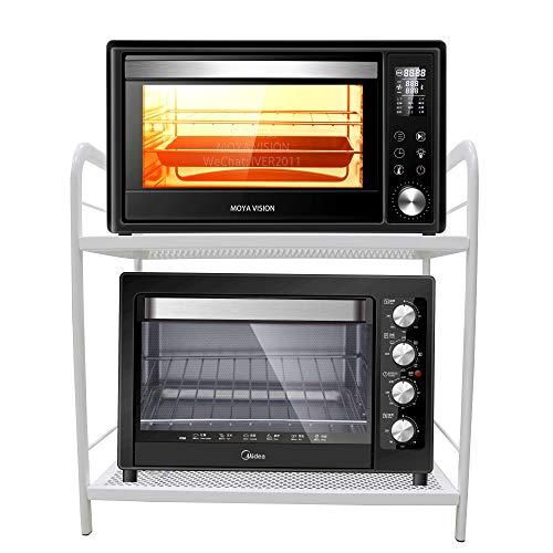 COSWE - Scaffale per forno a microonde, 2 ripiani per forno a microonde, da cucina, con 3 ganci, in metallo per microonde, colore: bianco