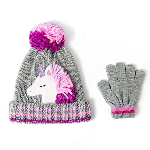 accsa Toddler Kids Girl Novelty Colorful Knit Unicorn Pony Beanie Hat Age 6-9 YRS Grey