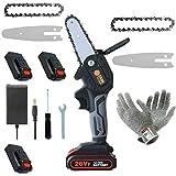 Mini-Kettensäge, 5.3-Zoll-Akku-Kettensäge, 3 Batterien und Bürstenloser Kettensägenmotor, Elektrische 26-V-Handsäge mit einem Gewicht von 0,7 kg, ein Paar Anti-Schnitt-Handschuhe
