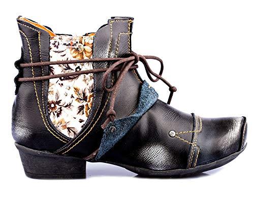 TMA 1858 Modische Damen Stiefeletten Stiefel Schuhe Leder schwarz alle Gr.36-42 EUR 39