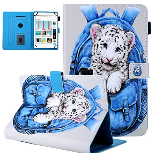UGOcase 8.0 inch Tablet Case, Universal Protective PU Leather Stand Case [Card & Stylus Holder] for 7.5-8.5 inch iPad Mini 1 2 3 4,Galaxy Tab A 8.0/Tab E 8.0,Fire HD 8,Android iOS, Tiger Bag