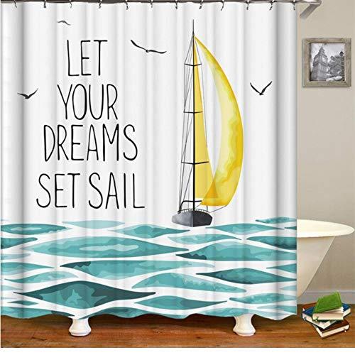 WIXIJAWR Segelboot Nautisch Dekor Stoff Polyester Bad Duschvorhang Lassen Sie Ihre Träume Setzen Segel-Zitate Mit Boot In Den Wellen,(W) 200X (H) 200Cm