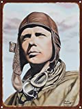 Charles Lindbergh Rustic Metal Art Print from Original Drawing & Painting by Artist Mike Bennett 9' x 12'