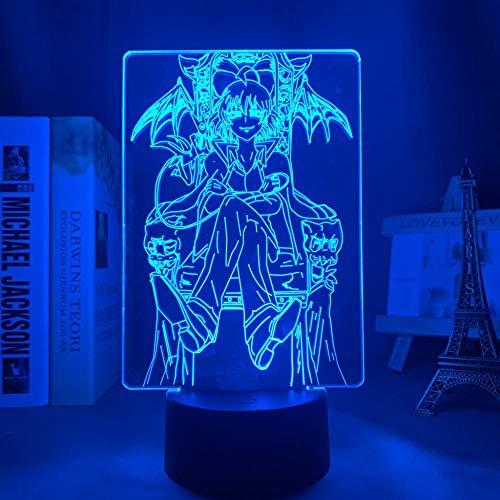Lámpara LED de anime 3D Bienvenido a Demon School Iruma Kun figura ilusión nocturna para decoración de la habitación, mesa o escritorio para niños y adultos. 7 cambios de color