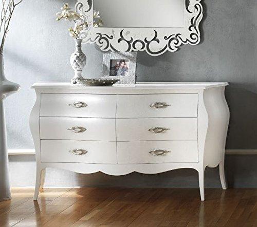 Legno&Design Commode, commode à 6 tiroirs blanc mat moulé et bombé.