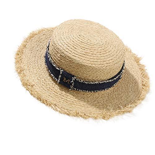 Unbekannt LINGZHIGAN Frühlings-Sommer-Reise-Lafite-Gras-Rand-M-Standard-Strohhut-weiblicher Sonnenschutz-Wilder Sun-Freizeit-Strand-Hut-Küstenfeiertag