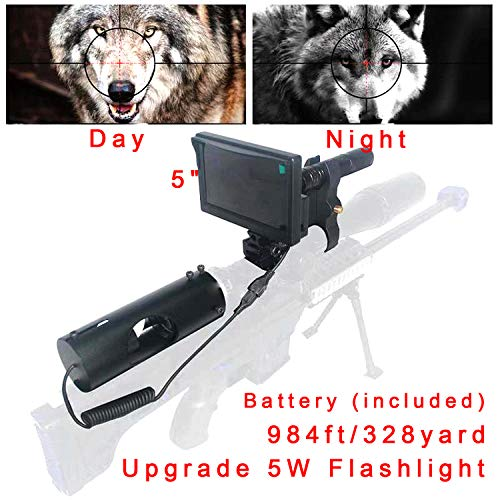 """Sumger 984ft/328yard Infrared Night Vision Scope Video Cameras, IR NightVision Riflescope 1080P Hunting Optical Scope 5"""" Portable Display Screen for Hunting Optics"""