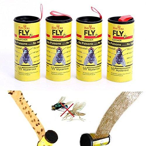 BYECHOW 4 PCS Trampa para Moscas Fly Paper, Tiras de Papel Fly, Cinta de Fly Catcher, Trampa Fly Catcher, Fly Ribbon, Trampa para Moscas Fly Bait Fruit para Uso en Interiores en Interiores