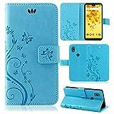 betterfon | Wiko View 2 Hülle Flower Case Handytasche Schutzhülle Blumen Klapptasche Handyhülle Handy Schale für Wiko View 2 Blau