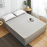 CCSMT Acogedor 100% algodón colchón colchón colchón de Color sólido con Banda elástica Ropa de Cama sábanas de Cama Doble tamaño de Cama tamaño Grande 160x200 para Hotel en casa