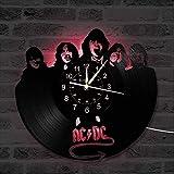 Yubingqin Reloj del Disco de Vinilo Pared, ACDC Tema de la música decoración de la Pared Reloj Grande, hogar Regalo Creativo Reloj de Pared Hecha a Mano. (Color : A)