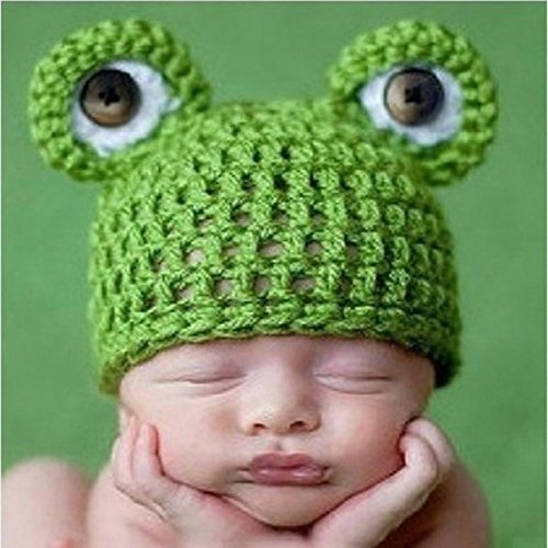 kimberleystore verde color Unisex Photo Studio Kid bebé ropa hecha a mano–tejer gorro de rana verde