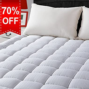 "LEISURE TOWN King Cooling Mattress Pad Cover(8-21""Deep Pocket)-Fitted Quilted Mattress Topper Hypoallergenic Down Alternative Fill"