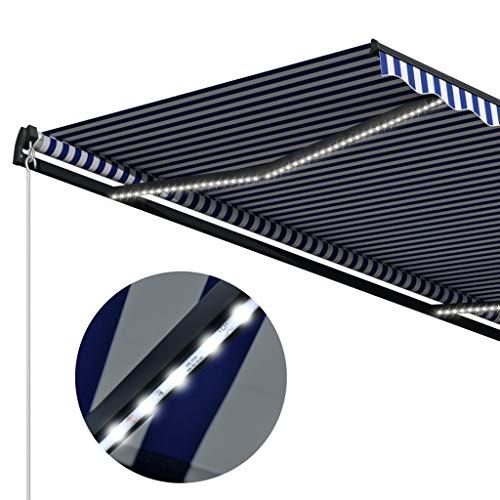 vidaXL Markise Einziehbar mit Windsensor LED Sonnenschutz Sichtschutz Gelenkarmmarkise Sonnenmarkise Terrasse Balkon Garten 300x250cm Blau Weiß Alurahmen