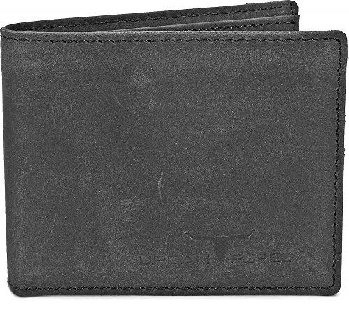 Schmales Portemonnaie Geldbörse Lederbörse Brieftasche Geldbeutel Slim Wallet Mini Börse für Herren im Querformat extra flach in Farben Schwarz Braun Cognac von URBAN FOREST, Farbe:Schwarz