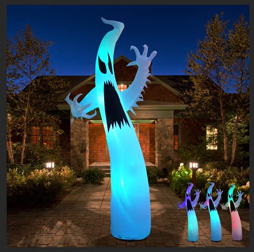JF Deco Aufblasbare 2,7 m Halloween Ghost Terrible mit Flash Farbwechsel Licht Dekor Indoor Outdoor Yard Rasendekoration
