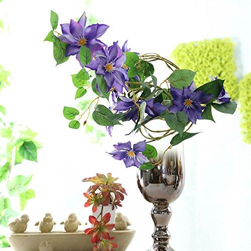 Li Hua Künstliche Blumen Clematis Blumengesteck für Tisch, Schreibtisch, Zimmer, Geschäft, Fotografie, Hochzeit, Dekoration, 2 Stück, Plastik, blau, 85 cm