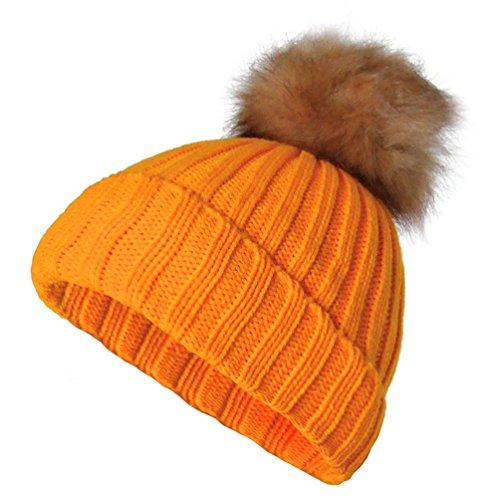 Fashion STRICKMÜTZE NEON Fell Bommel Wintermütze SKI Mütze Pompon Damen Umschlag Winter (Neon Orange)