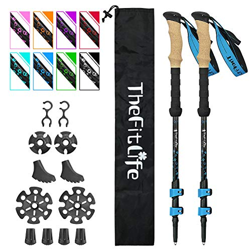 TheFitLife Carbon Fiber Trekking Poles – Collapsible and Telescopic Walking Sticks with Natural Cork Handle and Extended EVA Grips, Lightweight Nordic Hiking Poles for Backpacking Camping (Blue)