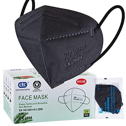 ctc connexions 20 Stück FFP2-Maske Schwarz , CE0598-Zertifizierung EN149:2001+A1:2009, 5-Lagige Staubmaske Einweg-Atemschutzgerät, Unabhängige Verpackung… (Schwarz)