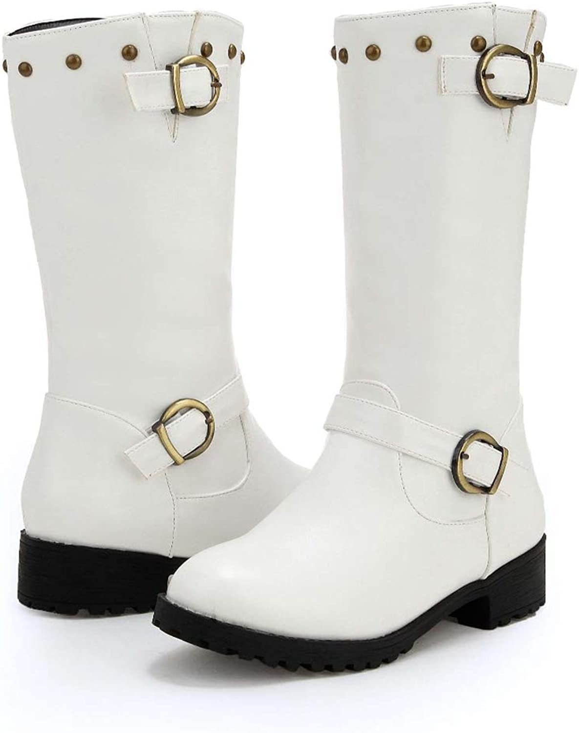Round Toe Rivets Buckles Decoration Low Heels Solid Pu Zip Riding Simple Style Women Mid-Calf Boots