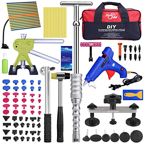 PDR Auto Paintless Dent Repair Kits, Car Dent Puller with Bridge Dent Puller Kit, Dent Remover Tools for All Kinds of Car Body Dents with Storage Bag